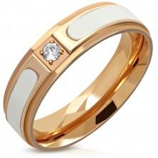 Inel din oțel în culoarea cuprului - dungă albă ridicată, zirconiu rotund transparent, 6 mm