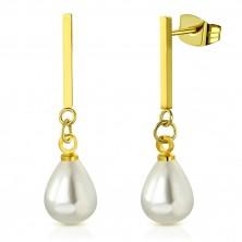 Cercei din oțel de culoare aurie - baston lucios cu perle sintetice ovale