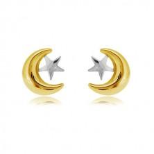 Cercei din aur combinat 585 - semilună și stea, închidere de tip fluturaș