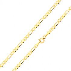 Lanț din aur galben 585 - model Figaro, zale ovale separate cu bastonașe, 500 mm