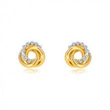Cercei din aur galben - două cercuri și cerc de zirconii, închidere de tip fluturaș