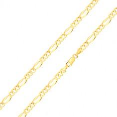 Brățară din aur 585 - trei zale ovale, zale alungite cu margini lărgite, 180 mm
