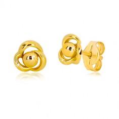 Cercei din aur galben 375 - floare cu trei petale și bilă în centru