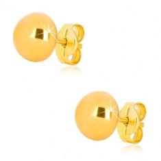 Cercei din aur galben 375 - semi-bilă simplă, suprafață strălucitoare, 7 mm