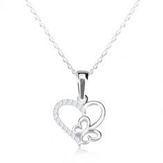 Colier din argint 925 - lanț subțire, contur de inimă și fluture, zirconii