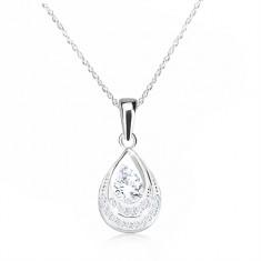 Colier din argint 925 - contur de lacrimă cu zirconii, lanț spiralat
