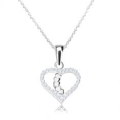 Colier din argint 925 - contur de inimă cu zirconii strălucitoare, linie în formă de inimă