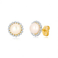 Cercei din aur galben de 9K - floare strălucitoare cu zirconii și perlă albă în mijloc