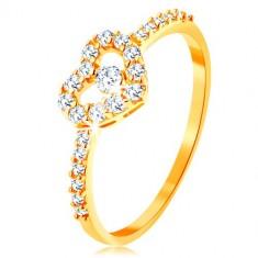 Inel din aur 375 - braţe din zirconiu, contur inimă lucioasă, transparentă cu zirconiu