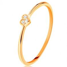 Inel din aur galben de 9K - inimă decorată cu zirconii rotunde, transparente