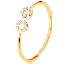 Inel din aur 375 cu brațe înguste despărțite, cercuri mici din zirconii