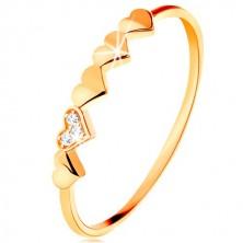 Inel din aur galben de 9K - inimioare strălucitoare, zirconii transparente