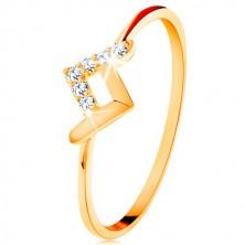 Inel strălucitor realizat din aur galben de 9K - linii curbate lucioase și din zirconii
