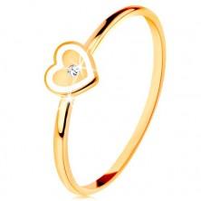 Inel din aur galben de 9K - inimă cu margini albe și zirconiu transparent