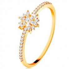 Inel din aur galben de 9K - floare strălucitoare formată din zirconii transparente, brațe lucioase