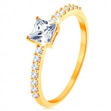 Inel din aur galben de 9K - zirconiu pătrat, proeminent, linii din zirconii transparente