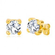 Cercei din aur galben 375 - zirconiu rotund transparent în montură pătrată, 6 mm