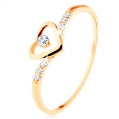 Inel din aur 375, contur în formă de inimă cu zirconiu transparent, braţe decorate