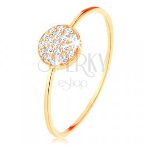 Inel din aur 375 - braţe mici lucioase, cerc încrustat cu zirconii transparente