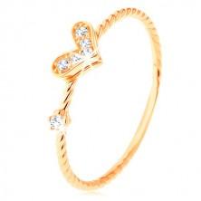 Inel din aur 375, braţe răsucite în spirală, inimă strălucitoare, zirconiu