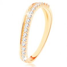 Inel realizat din aur galben de 9K - linie ondulată din zirconii netede şi transparente