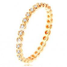 Inel din aur 375 - zirconii rotunde, transparente pe întreaga suprafaţă, margini ondulate