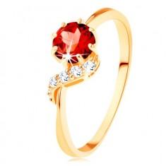 Inel din aur 375 - garnet rotund de culoare roşie, linie ondulată strălucitoare
