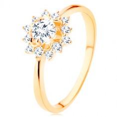 Inel realizat din aur galben de 9K - soare din zirconii transparente, braţe lucioase înguste