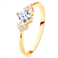 Inel lucios din aur 375 - zirconiu pătrat, transparent, zirconii pe laterale