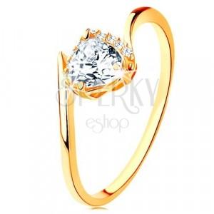 Inel din aur galben de 9K - inimă din zirconiu transparent, capete îndoite ale braţelor