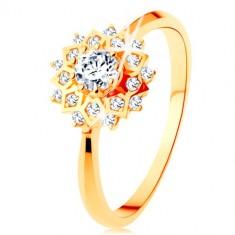 Inel din aur 375 - soare lucios decorat cu zirconii rotunde transparente