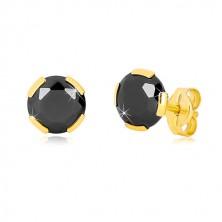 Cercei din aur galben 375 - zirconiu rotund negru, 6 mm
