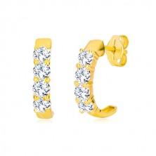 Cercei din aur galben de 9K - semi-cerc cu zirconii rotunde transparente