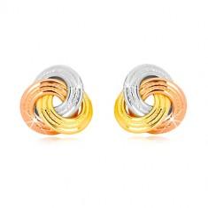 Cercei din aur combinat de 14K - noduri de trei culori, inele mai late