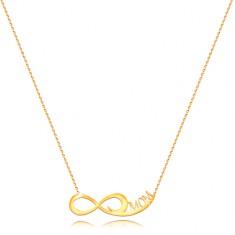 Colier din aur galben 585 - lanț fin, simbolul infinitului, inscripția MOM
