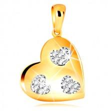 Pandativ din aur galben 585 - inimă simetrică cu inimi crestate, zirconii