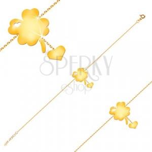 Brățară din aur galben de 14K - simbol al norocului cu decupaj în formă de inimă, inima pe lanț
