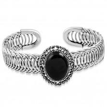 Brățară din oțel -  ornament oval cu piatră neagră, spirală
