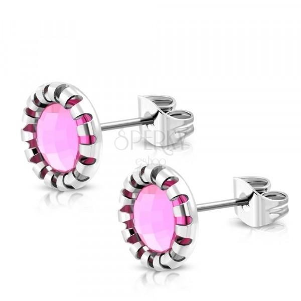 Cercei din oțel - floare sculptată, piatră de culoare roz deschis