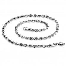 Lanţ spiralat din oţel, argintiu, ochiuri ovale, 750 mm