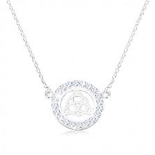 Colier din argint 925 - nod celtic, zirconii, lanț spiralat