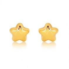 Cercei din aur galben 9K - stea lucioasă cu cinci puncte, închidere de tip fluturaș