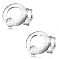Cercei din aur alb 585 - cercuri lucioase, zirconii rotunde strălucitoare, închidere tip fluturaș