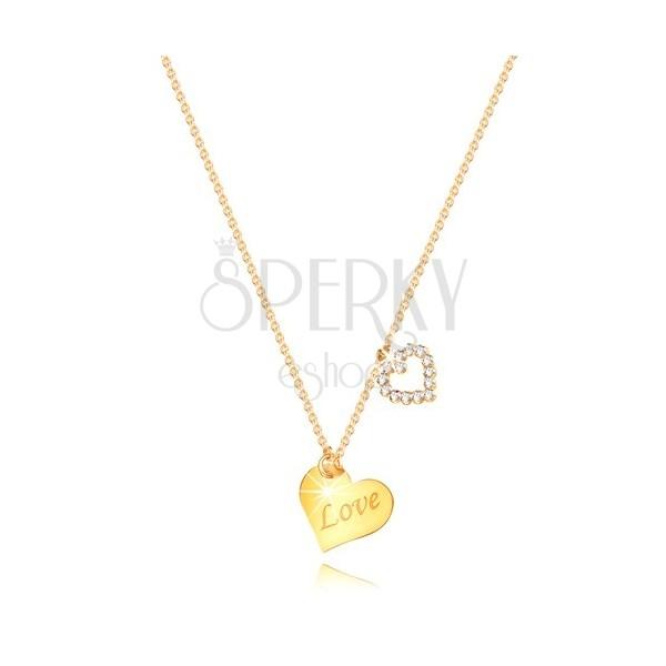 """Colier din aur de 9K - inimă cu inscripția """"Love"""", contur de inimă cu zirconii"""