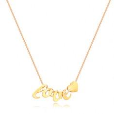 Colier din aur galben 375 - lanț subțire, litere l, o, v, e, inimă