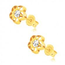 Cercei din aur galben 585 - floare cu cinci petale și zirconiu, crestături