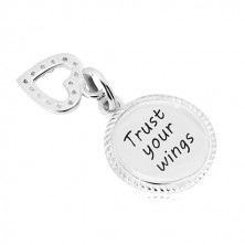 """Pandantiv din argint 925 - cerc cu inscripția """"Trust your wings"""", contur de inimă cu zirconii"""