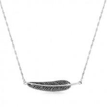 Colier din argint 925 - lanț spiralat și pană patinată