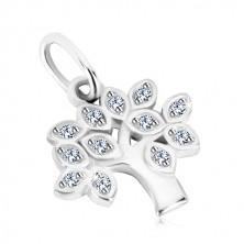 Pandantiv din argint 925 - copacul vieții, frunze cu zirconii rotunde