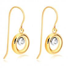 Cercei din aur de 9K - buclă din aur galben, suport din aur alb si zirconiu